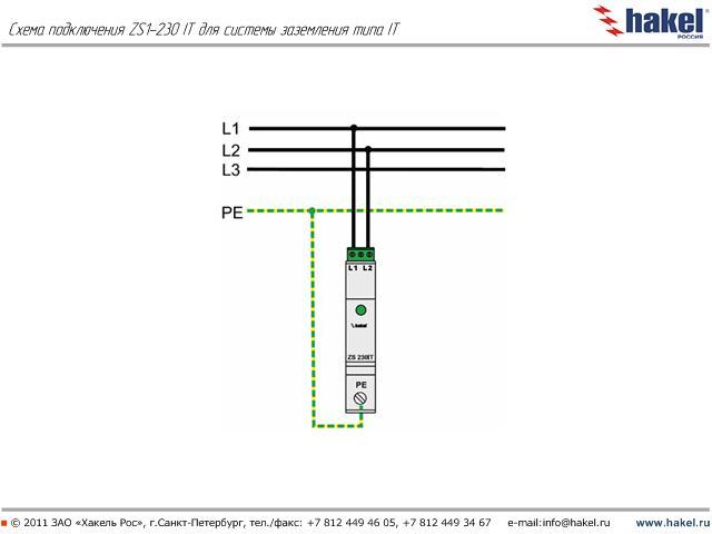 схема подключения ZS1-230 IT для системы заземления типа IT.